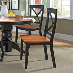 Dining Chair in Black and Cottage Oak Finish (Set of 2)