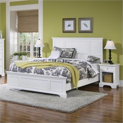 Home Styles Naples Queen Panel Bed 2 Piece Bedroom Set (Bed with Night Stand) in White Finish
