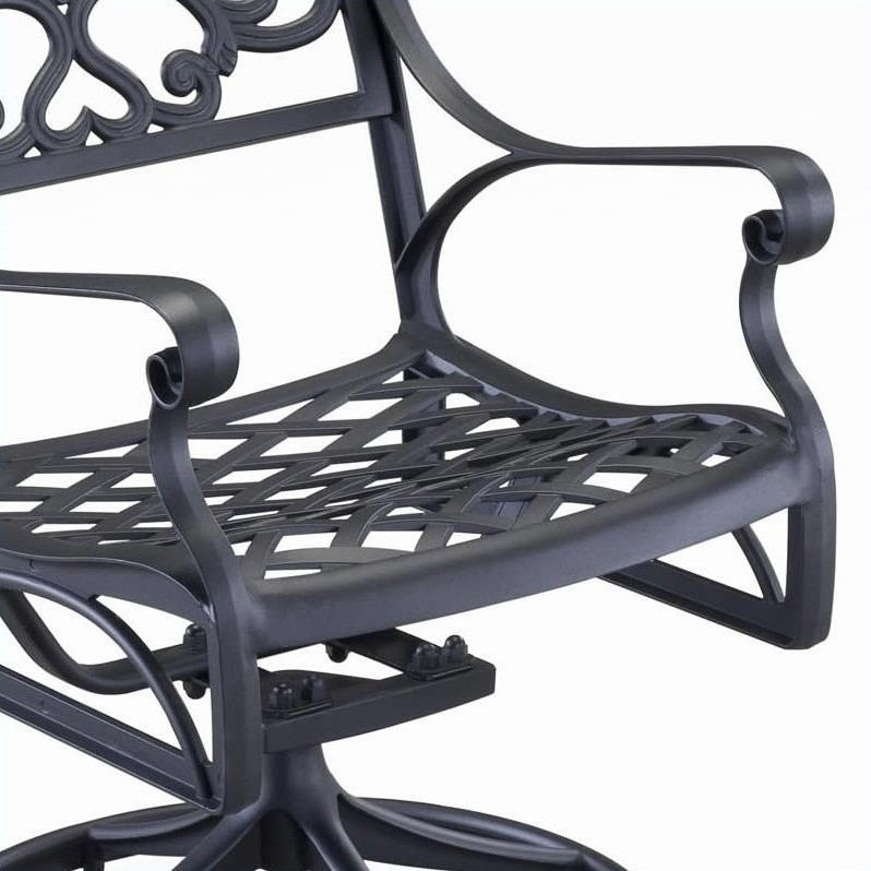 Home Styles Biscayne Outdoor Swivel Dining Arm Chair in Black
