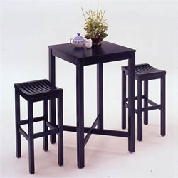 Home Styles Black Pub Table and Bar Stool Set