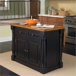 Home Styles Monarch Kitchen Island in Black and Oak Finish
