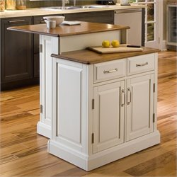 Two Tier Kitchen Island in White and Oak