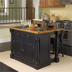 Home Styles Monarch Roll-out Leg Kitchen Island Set in Black and Oak