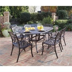 Home Styles Biscayne 7 Piece Metal Patio Dining Set in Bronze