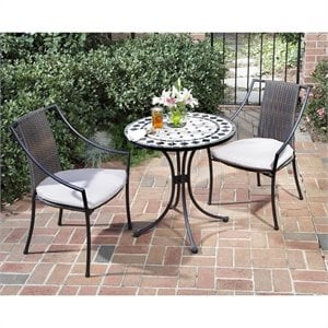 Home Styles Marble Bistro Table & 2 Chairs in Black & Gray