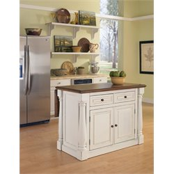 Antiqued Kitchen Island in Antiqued White