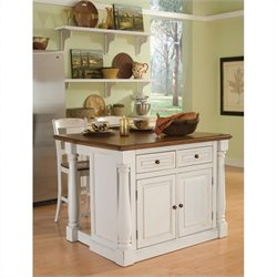 Home Styles Monarch Kitchen Island with Two Stools