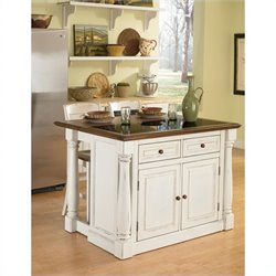 Kitchen Island with Granite Top and Two Stools