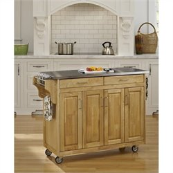 Home Styles Create-a-Cart 49 Inch Stainless Top Kitchen Cart in Natural