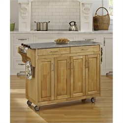 Home Styles Create-a-Cart 49 Inch Salt & Pepper Granite Top Kitchen Cart in Natural