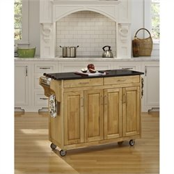 49 Inch Black Granite Top Kitchen Cart in Natural