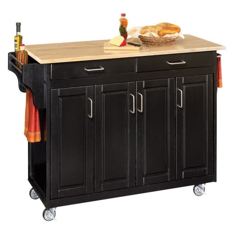 Home Styles Create-a-Cart 49 Inch Wood Top Kitchen Cart in Black