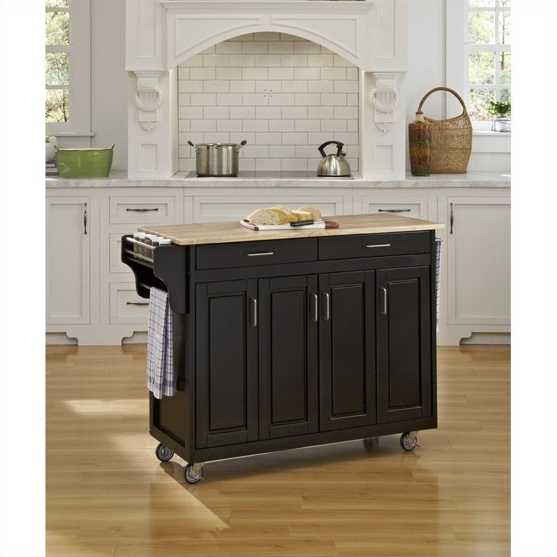 49 Inch Wood Top Kitchen Cart in Black