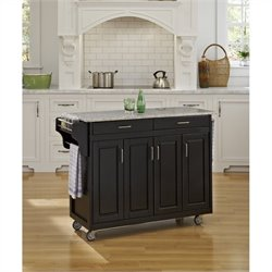 Home Styles Create-a-Cart 49 Inch Salt & Pepper Granite Top Kitchen Cart in Black