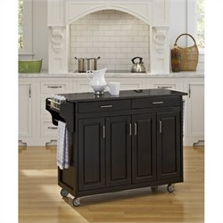 Home Styles Create-a-Cart 49 Inch Granite Top Kitchen Cart in Black