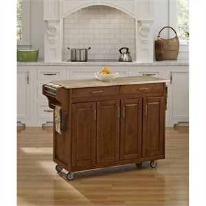 49 Inch Wood Top Kitchen Cart in Cottage Oak