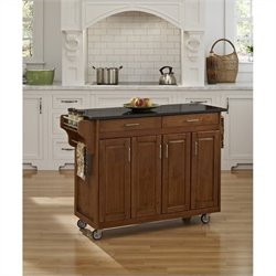 49 Inch Black Granite Top Kitchen Cart in Cottage Oak