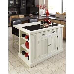 Kitchen Island in Distressed White Finish