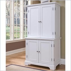 Home Styles Naples Compact Computer Desk and Hutch in White