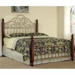 Home Styles St. Ives Bed in Cinnamon Cherry and Aged Gold Metal Finish - Queen size