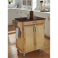 Home Styles Cuisine Cart in Natural Finish with Cherry Top