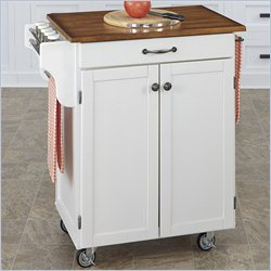 Home Styles Cuisine Kitchen Cart with Oak Top in White