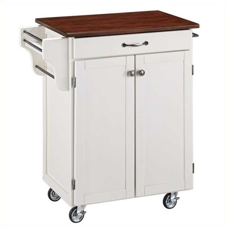 Home Styles Cuisine Cart in White Finish with Cherry Top