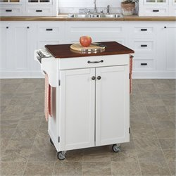 Kitchen Cart in in White Finish with Cherry Top