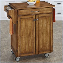 Home Styles Cuisine Kitchen Cart with Oak Top in Warm Oak