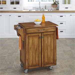 Kitchen Cart in in Warm Oak Finish with Cherry Top