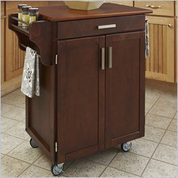 Home Styles Cuisine Kitchen Cart with Oak Top in Cherry
