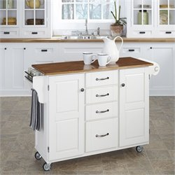 Home Styles Create-a-Cart in White Finish with Distressed Oak Top