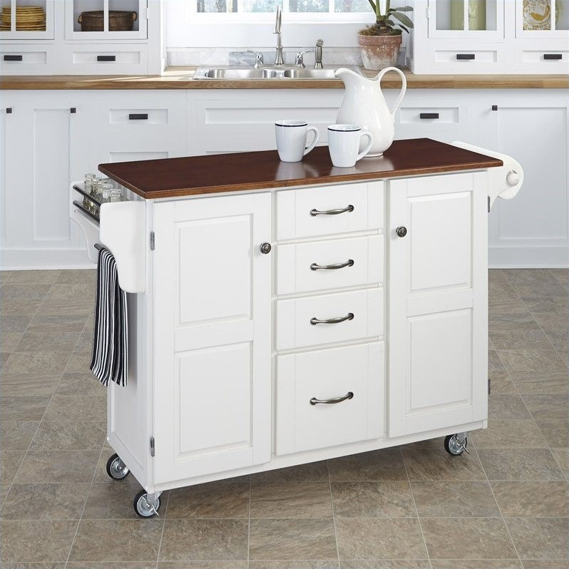 Create-a-Cart in White Finish with Cherry Top