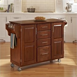 Home Styles Create-a-Cart in Warm Oak Finish with Cherry Top