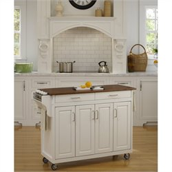 Home Styles Create-a-Cart in White Finish with Oak Top