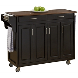 Home Styles Create-a-Cart in Black Finish with Cherry Top