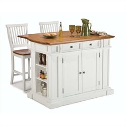 Kitchen Island and Stools in White and Distressed Oak