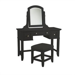 Home Styles Bedford Vanity Table and Bench in Black Finish