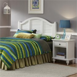 Home Styles Bermuda 2 Piece Bedroom Set in Brushed White - Queen