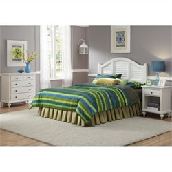 Home Styles Bermuda 3 Piece Bedroom Set in White - Queen