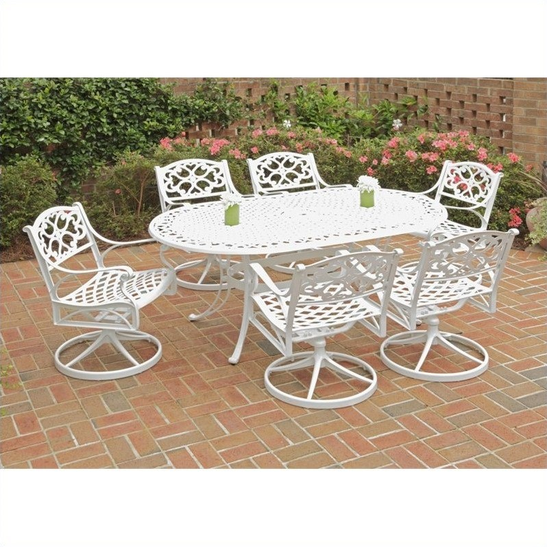 Biscayne 7 Piece Metal Patio Dining Set in White