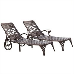 Outdoor Chaise Lounge Chair in Bronze (Set of 2)