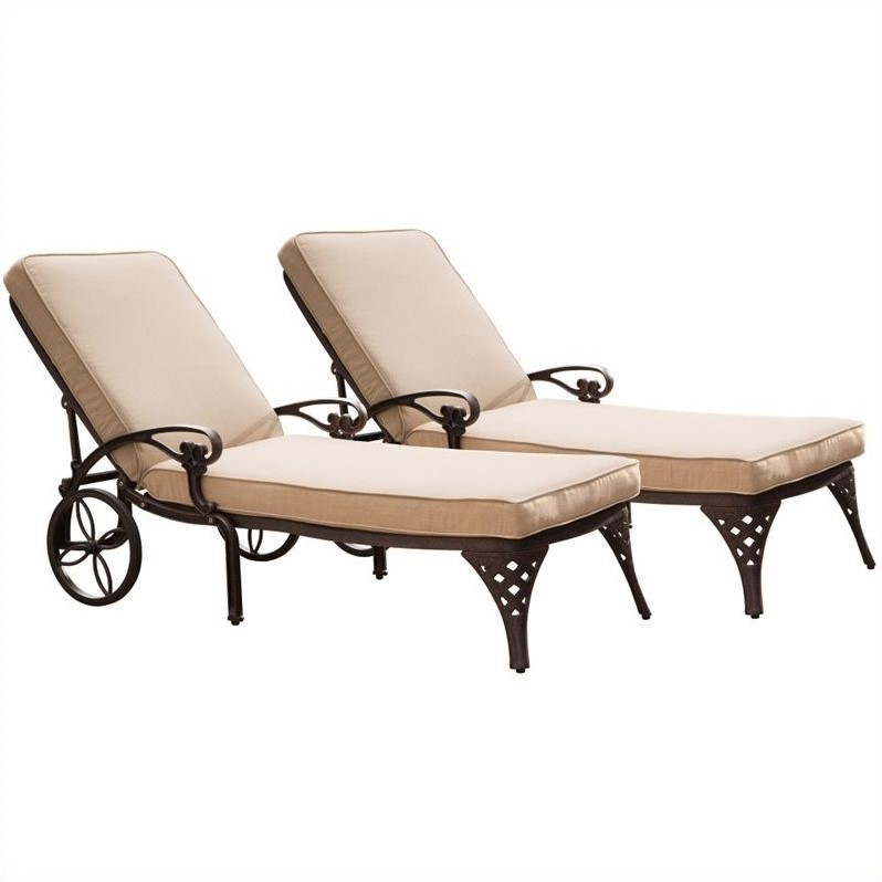 Outdoor Chaise Lounge Chair in Bronze with Cushion (Set of 2)