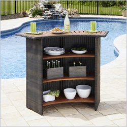 Home Styles Riviera Outdoor Woven Bar in Brown
