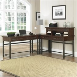 Home Styles Cabin Creek Corner L-Shaped Desk in Chestnut Finish