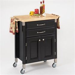 Home Styles Madison Wood Top Prep and Serve Kitchen Cart in Black