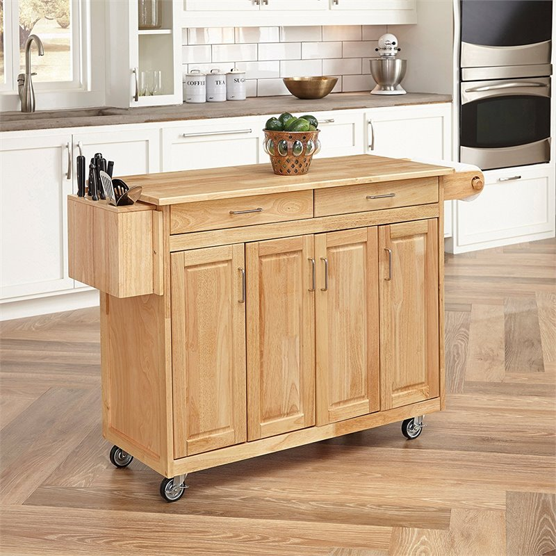 Furniture Kitchen Cart with Breakfast Bar in Natural Finish