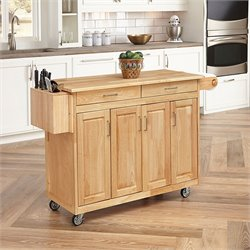 Kitchen Cart with Breakfast Bar in Natural Finish