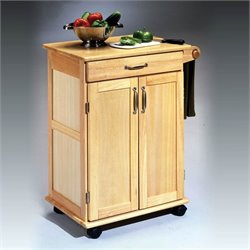 Paneled Door Kitchen Cart with Towel Rack in Natural