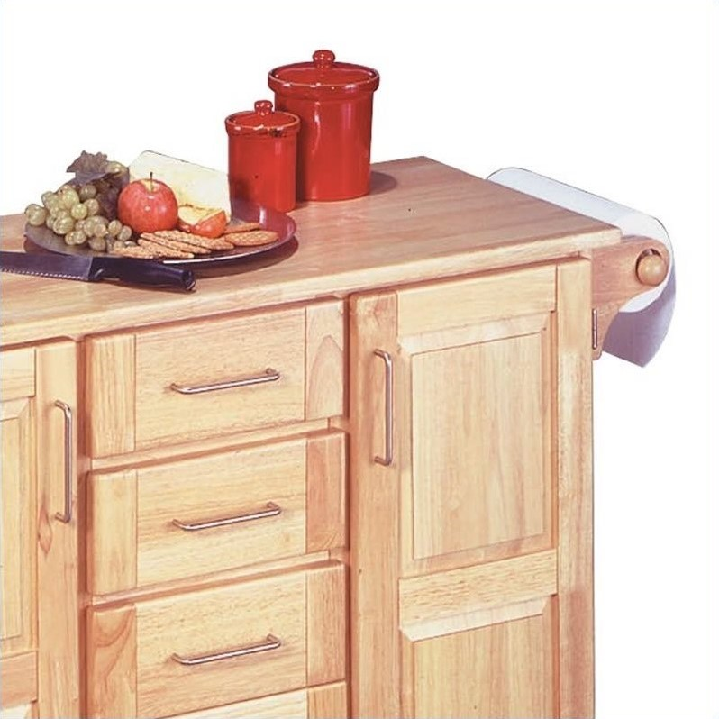 Home Styles Furniture Kitchen Cart with Breakfast Bar in Natural